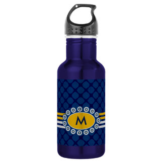 Four Stripes Monogram Blue and Gold ID207 532 Ml Water Bottle