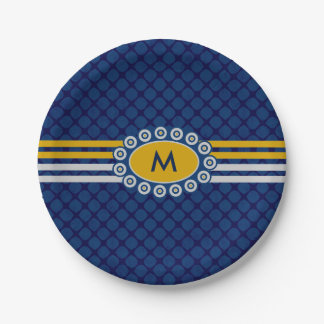 Four Stripes Monogram Blue and Gold ID207 7 Inch Paper Plate