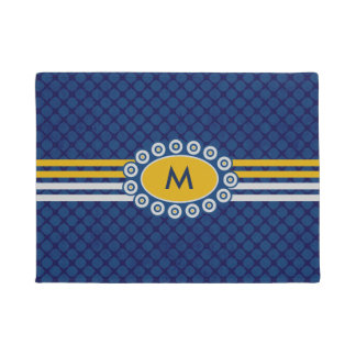 Four Stripes Monogram Blue and Gold ID207 Doormat