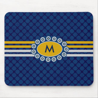 Four Stripes Monogram Blue and Gold ID207 Mouse Pad