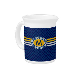 Four Stripes Monogram Blue and Gold ID207 Pitcher