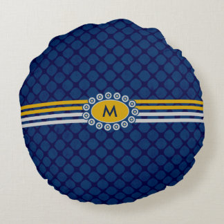 Four Stripes Monogram Blue and Gold ID207 Round Cushion