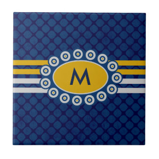 Four Stripes Monogram Blue and Gold ID207 Small Square Tile