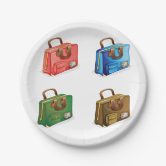 Four Suitcases Paper Plates 7 Inch Paper Plate