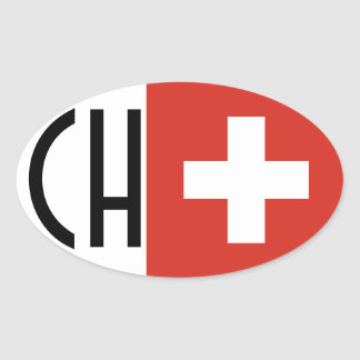"FOUR Switzerland Flag ""CH"" Oval Sticker"