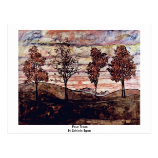 Four Trees By Schiele Egon Postcard