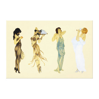 Four Vintage Retro Ladies Art Nouveau Style Canvas Print