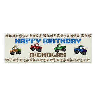 Four Wheeling Truck Birthday Sign