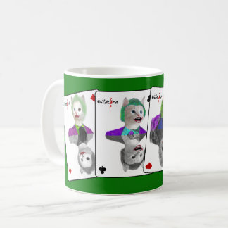Four Wild Card Clown Cats Playing Cards Coffee Mug