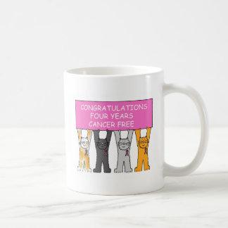 Four years cancer free anniversary. coffee mug
