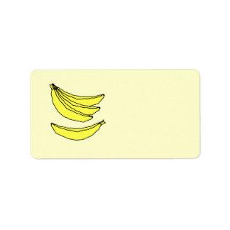 Four Yellow Bananas. Label