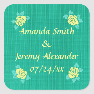 Four Yellow Roses Green Teal Plaid Save the Date Square Sticker