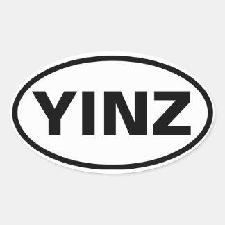 """FOUR """"YINZ"""" OVAL STICKER"""