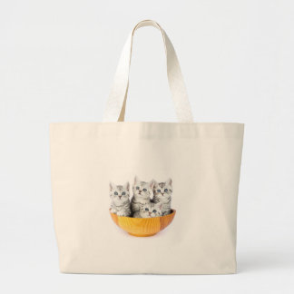 Four young cats sitting in wooden bowl on white large tote bag