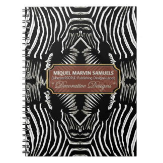 Four Zebra Heads Black White Decor Modern Notebook