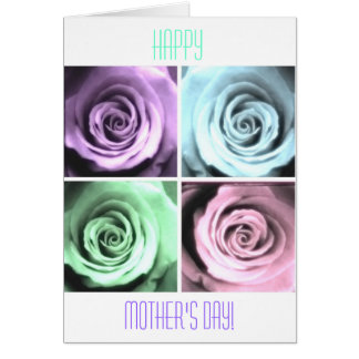 Foursome of Pastel Roses Happy Mother's Day Card