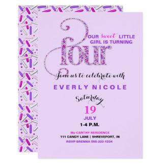 Fourth Birthday Lavender Purple Pink Sprinkles 13 Cm X 18 Cm Invitation Card