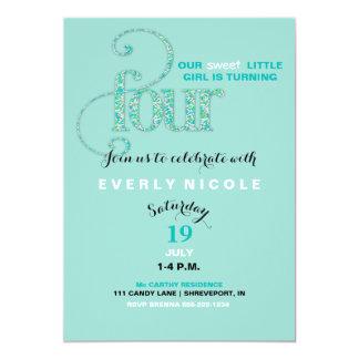 Fourth Birthday Mint & Aqua Sprinkles 4 Year Old 13 Cm X 18 Cm Invitation Card