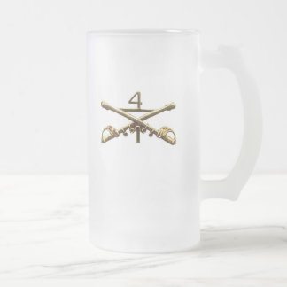 Fourth Cavalry insignia Frosted Glass Beer Mug