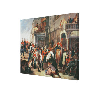 Fourth Dragoon Guards leaving Stretched Canvas Print