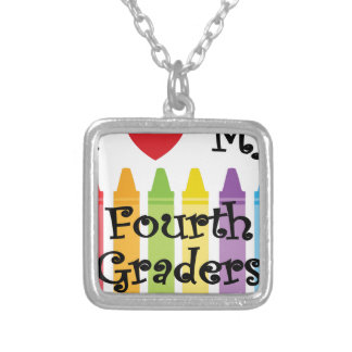 Fourth grade teacher silver plated necklace