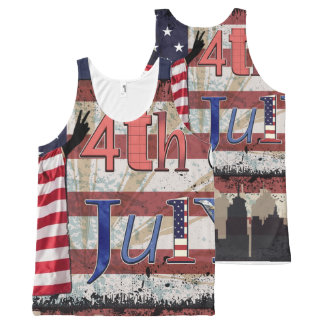 Fourth July All Over Print All-Over Print Singlet