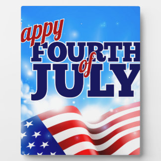 Fourth of July American Flag Background Sky Photo Plaques