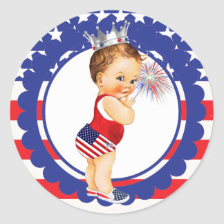 Fourth of July Baby Shower Sticker Vintage Baby