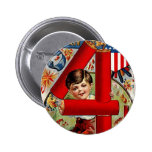 Fourth of July Boy with Fireworks 6 Cm Round Badge