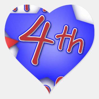 Fourth of July Celebration Heart Sticker