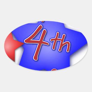 Fourth of July Celebration Oval Sticker