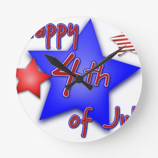 Fourth of July Celebration Round Clock