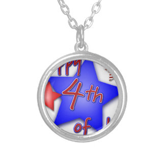 Fourth of July Celebration Silver Plated Necklace