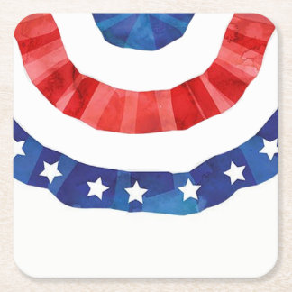 fourth of July colorful barbecue Square Paper Coaster