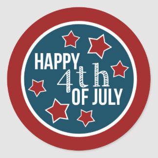 Fourth of July Cupcake Circles Classic Round Sticker