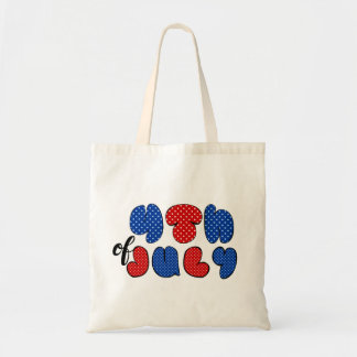 Fourth of July doodle sign, patriotic flag colors Tote Bag