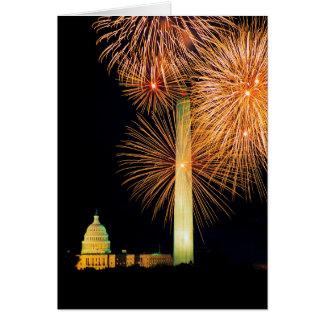 Fourth of July, Firework Display, Skyline Greeting Card