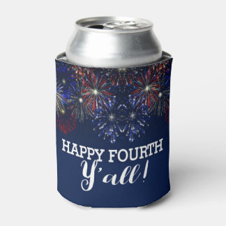 Fourth of July Firework Summer Party Red White Blu Can Cooler
