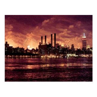 Fourth of July Fireworks behind Manhattan Postcard