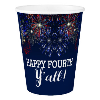 Fourth of July Fireworks Summer Party Red White Paper Cup