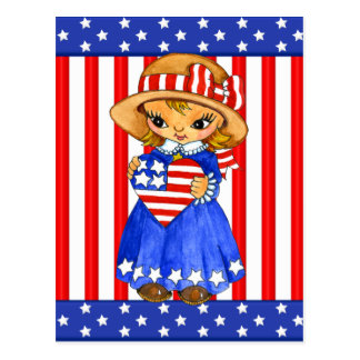 Fourth Of July Girl postcard