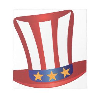 Fourth of July Hat Gold Stars Illustration Notepad