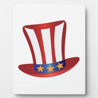 Fourth of July Hat Gold Stars Illustration Plaque