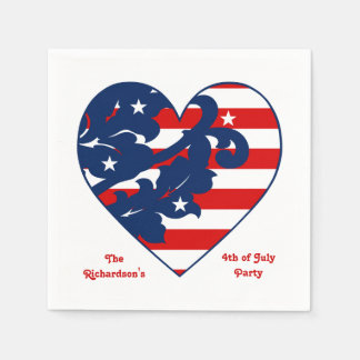 Fourth of July Independence Day patriotic heart Paper Napkin