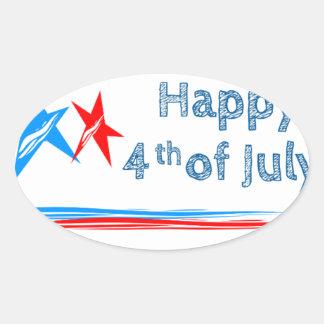 Fourth-of-July Oval Sticker