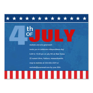 Fourth of July Party 11 Cm X 14 Cm Invitation Card