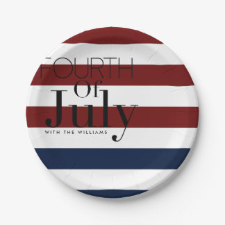 Fourth of July Party | Custom Name 7 Inch Paper Plate