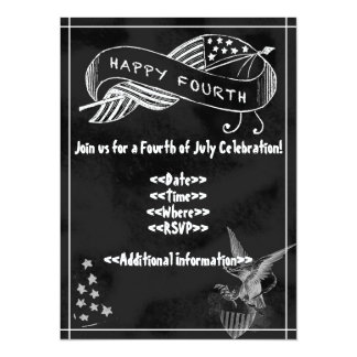 Fourth of July Party Invitation - Chalkboard Style
