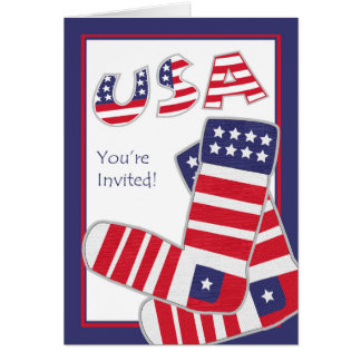 Fourth of July Party Invitation, Patriotic Socks Greeting Card