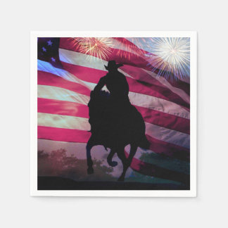 Fourth of July Party Napkins Cowboy and Flag Paper Serviettes